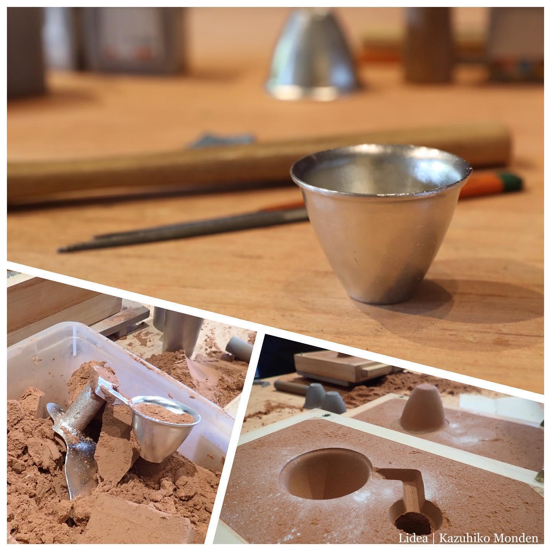 初めての鋳物、錫の猪口。My first tin casting.